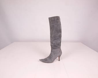 Grey Suede Boots || 90s Vintage Pointed Toe Boots || Knife Point Boots || Size Boots