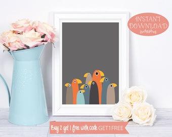 Printable Wall Art, Bird Wall Art, Printable Art, Bird Print, Minimalist Print, Digital Print, Instant Download, Minimalist Wall Art, Birds