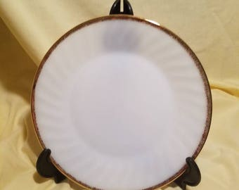 "Fire King 9.25"" White with Gold Trim Plates"