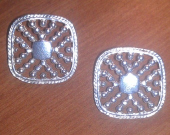 Vintage Silver Basketweave Square Earrings