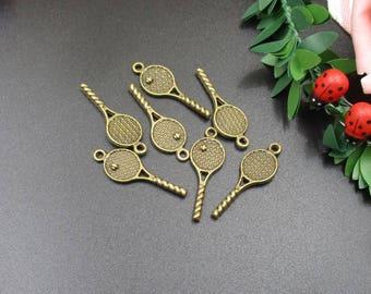 10Pcs 29x10mm Bronze Tennis Racket Charms-p1836-A