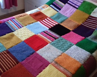 large hand knitted chunky patchwork double blanket
