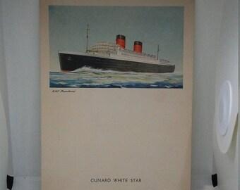 Flash 50% off sale Vintage Cunard White Star RMS Mauretaina Menu