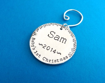 Baby's First Christmas Ornament - Custom Hand Stamped Ornament - 2015 Christmas Ornament - Snowflakes