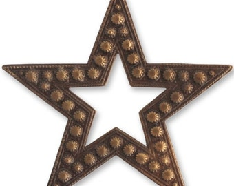 DISCONTINUED Vintaj Brass Beaded Star Large Open Star Antiqued Brass Ox Pendant Focal 45mm Qty 1