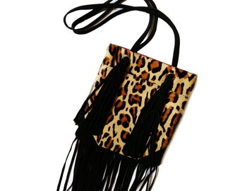 BANDIDO SLD Hairy Leopard fringed shoulder bag