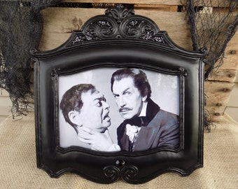 CLASSIC HORROR MOVIE Framed Art Viintage B & W Collectible Vincent Price Peter Lorre Halloween Home Decor Ornate Gothic Victorian haunted