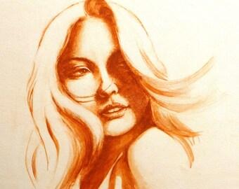 One Look, Print, Fashion drawing, Fashion illustration,  Fashion print, Figure painting, Original drawing, Watercolor painting, Fine art