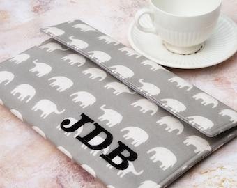 Kindle Sleeve, Kindle Case, Monogrammed Kindle Case, Personalized Kindle Case, Monogram Kindle Case, Monogram Ereader Sleeve  Grey Elephants