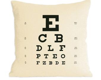Eye Chart Pillow ~ Organic Hemp/Cotton blend