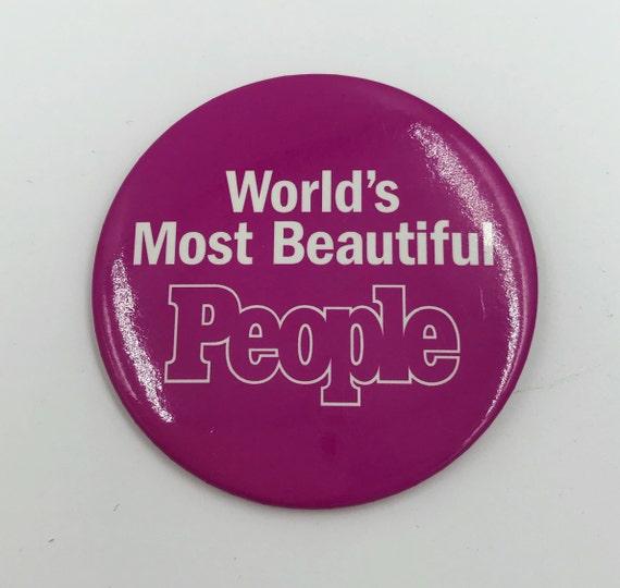 "3"" People Magazine Pinback Button Worlds Most Beautiful People Large Pinback Badge 3 Inch Pin - Typography Rare Pink Glam Fashion Statement"