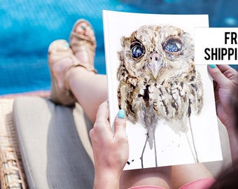 Owl Fine Art Print  Owl watercolour print, Art print, nature painting, watercolour print