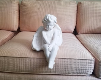 Sitting Angel Cherub Statue Large Figurine Ceramic Unique Vintage Dept 56 Religious Spiritual Shelf Sitter Figurine foot tall Artwork Decor