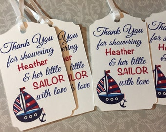 Sailor Baby Shower Favor Tags, Nautical Baby Shower Favors,Sailboat Baby Shower Favor Tags
