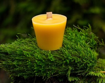 100% Pure Beeswax Votive with Wood Wick