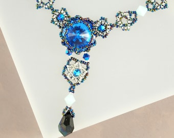 Y Necklace, Blue Necklace, Swarovski Crystal Necklace, Seed Bead Necklace, Iridescent Necklace, Blue Sapphire, 40th Birthday Gift, Victorian