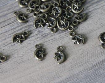 set of 10 charms pendant small moon brass bronze 1.1 * 0.7 cm