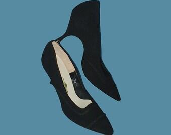 Vintage 50s Black Suede Pointed Toe High Heel Shoes 5