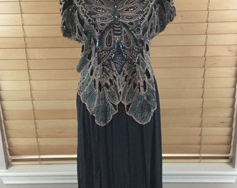 Thums Up Vintage Butterfly Sequins 2 Piece Dress
