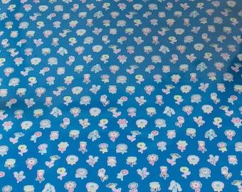 """LAMINATED Cotton  - Blue Flower Lollipop,  56"""" Wide, BPA & PVC Free"""
