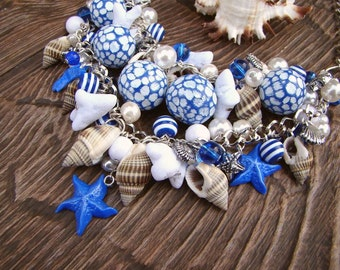 Necklace Sea Marine style Seashells Coral beads Blue and white Silver findings Handmade necklace Sarfish Gift for a woman
