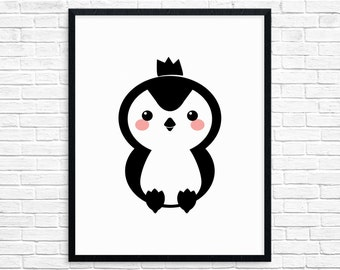 Penguin Nursery Animal Decor, Minimalist Nursery Print, Instant Download Printable Wall Art, Black and White Wall Art, Modern Kids Room