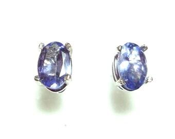 SALE Tanzanite 14k white gold post earrings