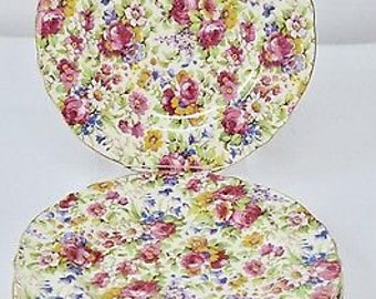 7 x Royal Winton Grimwades pink rose floral Chintz Summertime Side Plates Afternoon Tea