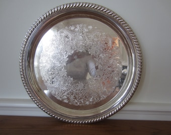 Vintage round silver tray.  Wm Rogers 171 silver tray.