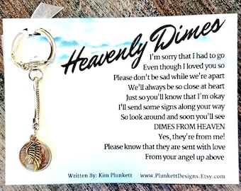 Heavenly Dimes Keychain  - Original Poem - With Handmade Dime Charm & Golden Angel Wing