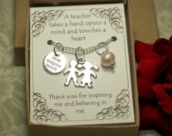 Teacher Necklace, Teacher Theme Necklace -T07- Teacher's Gift, Teacher Appreciation Gift, Teacher Charm, Teacher Pendant, Christmas Gift