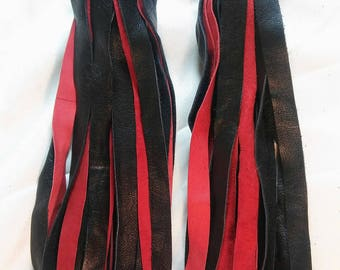 Red and Black Double Finger Flogger