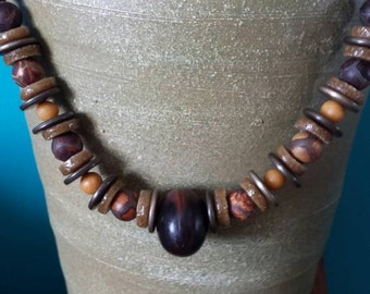 Brown Tan Mustard Snakeskin Jasper Greek Glass Mustard Jasper and Antique Brass Disc Necklace with Chunky Brown Wood Bead