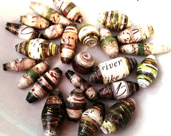Unique Paper Beads - Handmade - Greens  &  Browns  - Set of 24 - PB133