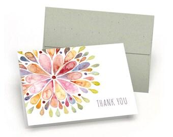 Elegant Set of Thank You Cards - Watercolor Flower Burst (10 Cards + Sage Green Envelopes)
