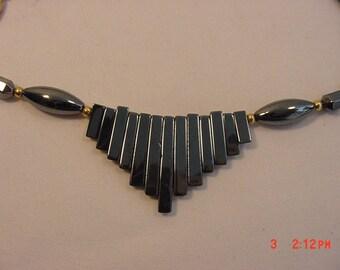 Vintage Metallic Silver Glass Necklace  16 - 394