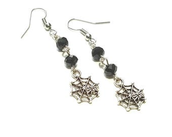 oxidized silver spider web dangle earrings with black crystals bargain