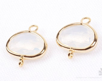 F130-G-PL// Gold Framed Frosted Pearl Glass Stone Connector, 2 pcs