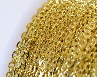 Gold Cable Chain, 3 mm x 2 mm - 10 ft (G32-001)