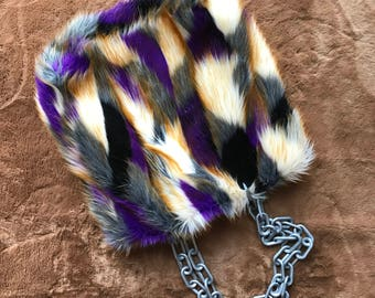 Vintage inspired faux fur patchwork tote Purple Haze. S'cuse me while I kiss the sky.