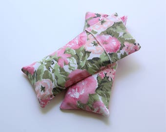 SALE! Eye Pillow Floral Cotton with Insert and Washable Cover,  Flax/Lavender