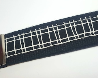 Black and White Lined Checkered Keychain FOB on Black Heavy Duty Cotton Webbing