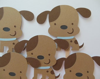 Puppy Dog Cupcake Toppers - Blue and Brown - Boy Birthday Party Decorations - Boy Baby Showers - Set of 6