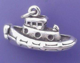 TUGBOAT Charm .925 Sterling Silver Tug Boat Pendant - lp2721