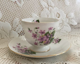 Bone China Tea Cup And Saucer, Rosina Bone China, Floral Tea Cup, Purple Violets, Fine China Made In England, Tea Party, Bridal Shower Gift