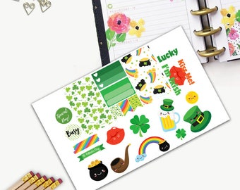 St Patricks Day Small Holiday Sticker Set, All Happy Planner Stickers, Add On Set, Stickers, Printed, Cut, Functional Sticker, Any Planner