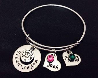 Personalized Family Bangle Bracelet - Hand Stamped Jewelry - Expandable Wire Bangle - Mom Bracelet - Couple Bracelet