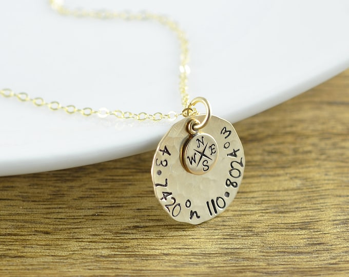 Gold Coordinate Necklace, Gold Compass Necklace - Personalized Compass Necklace - Coordinate Necklace - Friend Gift, Christmas Gift