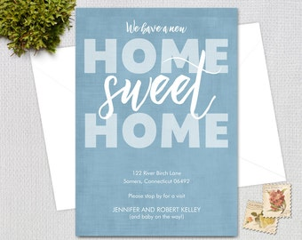 Moving Announcement /  Home Sweet Home / Shabby Moving Announcement / Blue and White  / PRINTABLE / 1118