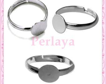 Set of 20 silver dark rings 8mm REF2255
